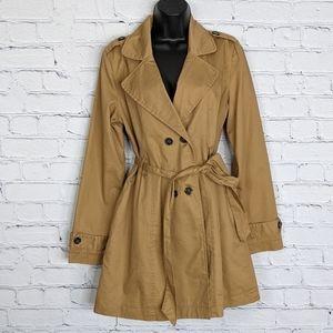 Tulle Khaki Tan Cotton Twill Short Trench Coat L